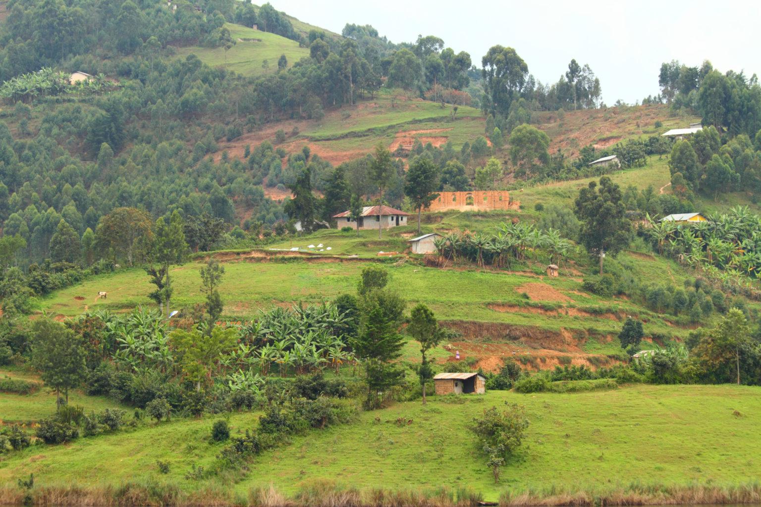 Rural farm communities on Lake Bunyoni Uganda