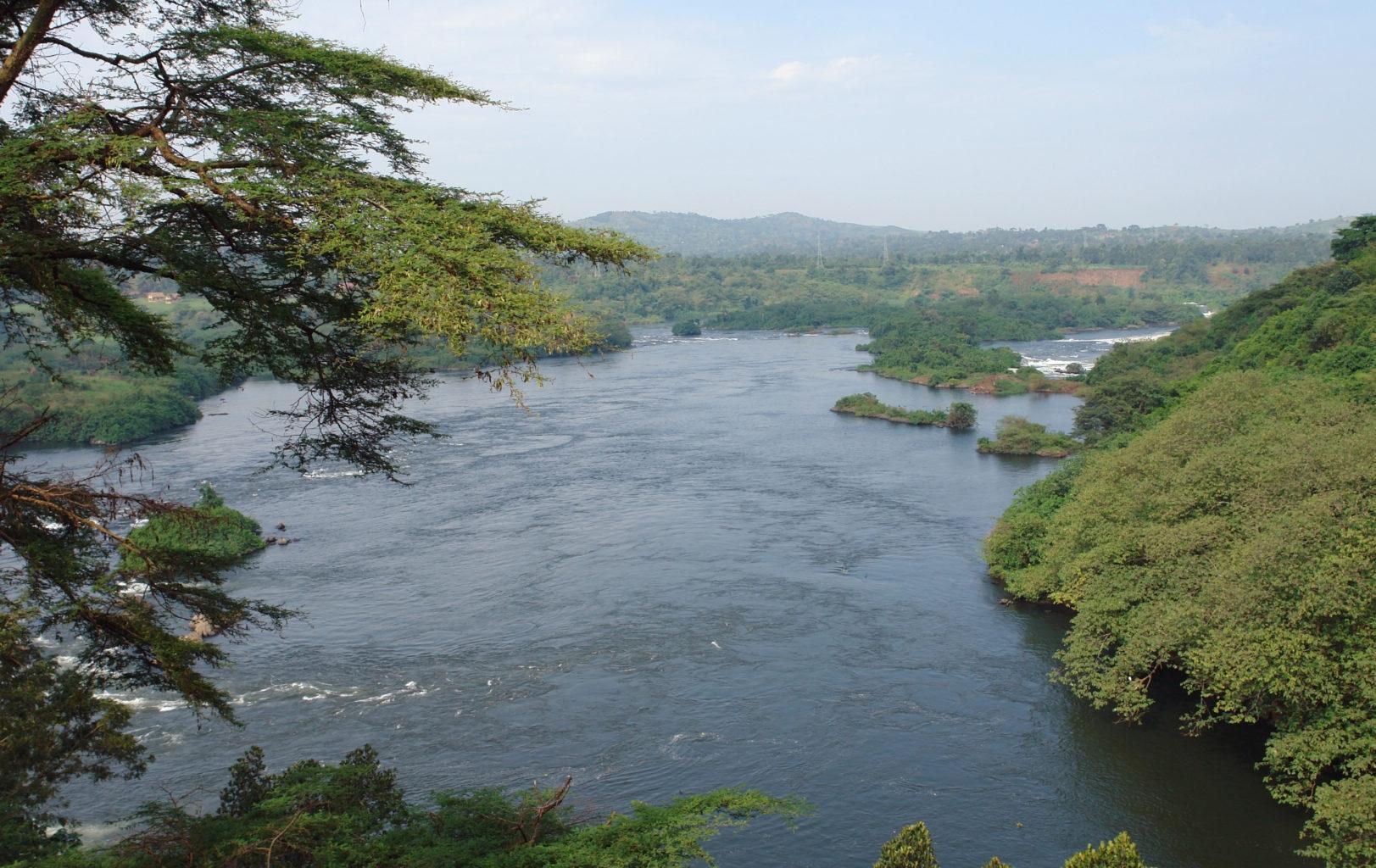 aerial view around the Bujagali Falls in Uganda (Africa)