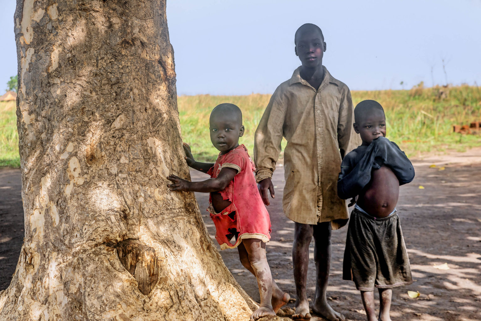 Uganda, Africa- April 2, 2016: Children living in the Village near Mbale city in Uganda Africa