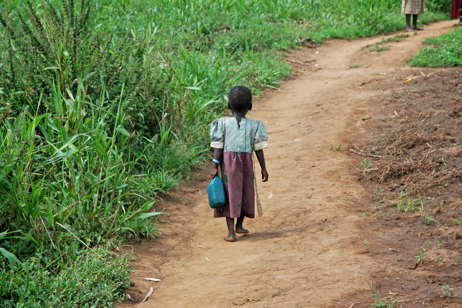 GULU UGANDA AFRICA - CIRCA MAY 2005: Unidentified little girl carries a blue jerry-can down a dirt path circa May 2005 in Uganda Africa.